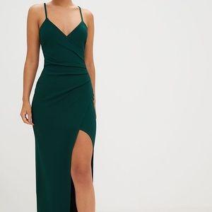Emerald Green Wrap Front Crepe Maxi Dress